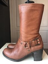 Oasis Brown Leather Ladies Women Ankle Calf High Heel Shoe Boot Size 8 41