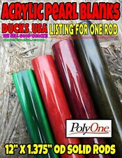 "Duck Call Acrylic 12"" Rod x 1.375"" Od Solid Turning Blank Premium Pearl Rod"