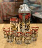 Mid-Century Vintage HAZEL ATLAS Cocktail Shaker Shot Glasses Gay '90's theme