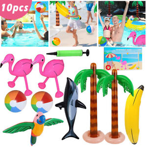 Inflatable Toys Set Kids Hen Party Swim Props Blow Up Instruments Animals Beach