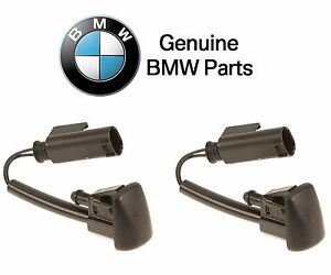 For BMW 5Series Pair Set of Front Left+Right Black Windshield Washer Nozzles OES