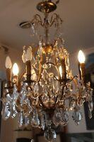 Crystal chandelier Gilt bronze chandelier Ormolu chandelier French style decor