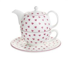 New Nina Campbell Pink Heart Tea For one, Tea Cup & Teapot - Made in England