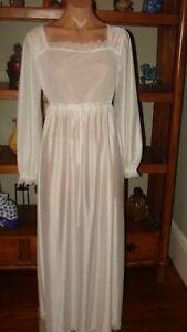 """Ladies/Women's Vintage Trikota Long Nylon Nightgown - Bust to 42"""" - White"""