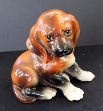 """Vintag 1920s WIEN KERAMOS Austria Brown DACHSHUND SITTING PUPPY DOG 6""""h Figurine"""