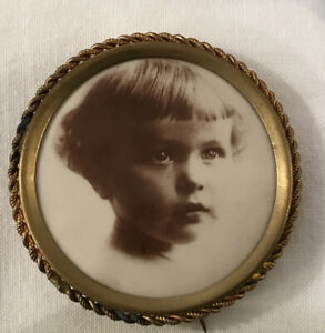Large Antique Celluloid MOURNING Photo Pin Back Button Brooch VICTORIAN CHILDREN