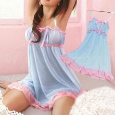 Blue Women Lace Sheer Babydoll lingerie Nightdress Nightwear Sleepwear G-string