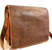 """15"""" Lorenz Cowhide Real Leather Satchel Messenger Shoulder Bag Handbag Brown"""