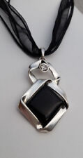 Bänderkette Anhänger 5,5 cm silberfarben Glasstein schwarz Strass-Stein klar NEU
