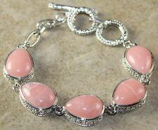 Silver Vintage Style Rose Quartz Teardrop Bracelet