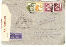 1940 Tel Aviv Palestine Airmail Cover USA via Singapore with dual censorship