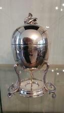 Elegant Antique Silver Plated Empire Style  Egg Coddler with Swan Finial
