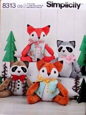 STUFFED RACCOON * FOX with Vests * Animal Simplicity Sewing Pattern 8313 NEW