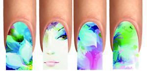 Wrap Nail Art Tattoo Fullcover Design Blume Mädchen Gesicht Flower blue XS-XL#34
