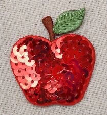 Sequin Red Apple - Leaf/Stem Fruit/Food - Iron on Applique/Embroidered Patch