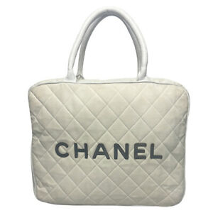CHANEL WHITE QUILTED CANVAS AND LEATHER BOWLER BAG