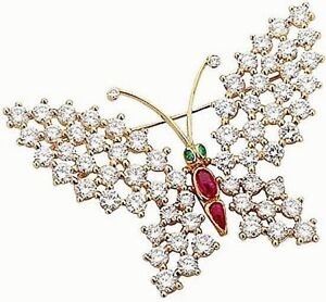 2.02ct NATURAL ROUND DIAMOND 14k SOLID YELLOW GOLD RUBY EMERALD GEMSTONE BROOCH