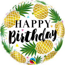 "18"" Gold Pineapple Happy Birthday Foil Helium Balloon Hawaiian Party Decoration"