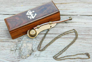 Antique Bosun's Whistle Brass & Copper Boatswains Pipe with Wooden Storage Box