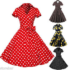 Rockabilly Tea Shirt Dress Polka Dots Floral Party Swing 50s Retro Plus Size