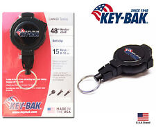 "Key-Bak Retractable LOCK48 Locking Key Reel with Belt Clip - 48"" Cord / 8 oz"