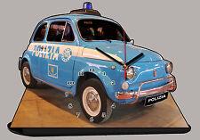 AUTO MINIATURA, FIAT 500 POLIZIA-09, AUTO IN OROLOGIO MINIATURA