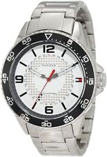 New Tommy Hilfiger Men 1790838 White Dial Stainless Silver Band Sport Watch