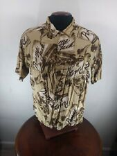Vintage Panama Jack Button Down Shirt Mens XL Brown Rayon Fits smaller rum