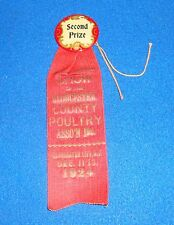 Vintage 1924 Gloucester County New Jersey Second Prize County Fair Ribbon