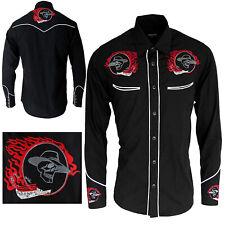 Men's Western Cowboy Black Skull Red Flames Long Sleeve Rockabilly Rodeo Shirt