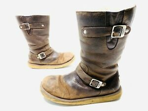 UGG Australia Kensington Brown Leather Double Buckle Womens Boots Size 10 5678