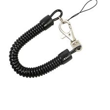 Black Plastic Spring Coil Spiral Stretch Ring Key Chain Keychain Retractable New