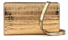 MICHAEL KORS JET SET Gold EMBOSSED LEATHER CROSSBODY Clutch Handbag