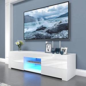 Meuble TV Armoire Basse télévision Lowboard Commode en Bois haute brillance LED