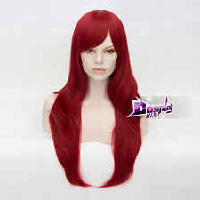 70CM Wine Red Long Wavy Hair for Steins Gate Makise Kurisu Cosplay Wig + Cap