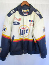 Jeff Hamilton NASCAR X-Large Beige Blue Leather Jacket Rusty Wallace