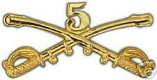 """Army 5Th Cavalry Gold Lapel Hat Pin 2"""" Badge"""