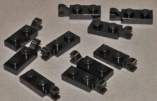 LEGO - 10 x Platte 1x2 mit Clip an Längsseite / schwarz / 63868 NEUWARE