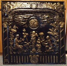 1890's Designer Metal Summer Fireplace Screen/Wall Plaque 30 x 30 Black And Gold