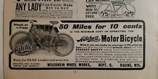 1902 Mitchell motor bicycle motorcycle 50 miles for $0.10 ten cents vintage ad