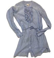 Joie California Ruffle Stripe Button Women's Sz Medium Shirt Tunic Blue White