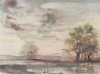 AUDREY KERMODE - PLEASANT DAY - ORIGINAL WATERCOLOR - C.1960 - FREE SHIP IN US!