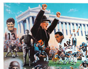 """NFL Chicago Bears 75th Anniversary Team Signed Lithograph Large Reprint 11""""x14"""""""