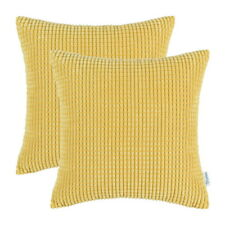 Pack of 2 Cushion Covers Pillows Cases Corduroy Corn Striped Sofa Decor 60x60