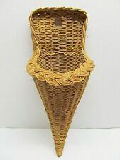 Cornucopia - Horn of Plenty Basket - footed - ratan - woven - rustic decor (232