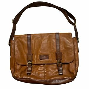 Fossil Brown Leather Messenger Laptop Bag Briefcase