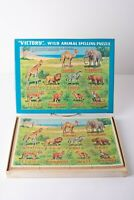 Vintage Victory Wood JigSaw Puzzle Wild Animal Spelling Made in England 60 pcs