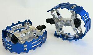 "Old School BMX Beartrap Pedals Blue - 1/2"" for 1 piece cranks"