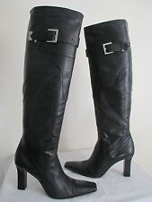 GIVENCHY WOMEN'S BLACK LEATHER KNEE HIGH BOOTS SIZE 40 ½ MADE IN ITALY US 9.5