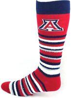 Arizona Wildcats NCAA Muchas Rayas Crew Fuzzy Socks Logo Leg One Size